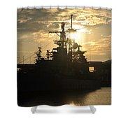 Sunrise At The Naval Base Silhouette Erie Basin Marina V3 Shower Curtain