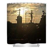 Sunrise At The Naval Base Silhouette Erie Basin Marina V4 Shower Curtain