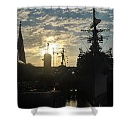 Sunrise At The Naval Base Silhouette Erie Basin Marina V5 Shower Curtain