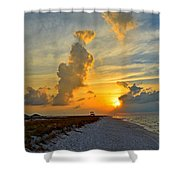 Sunrise Colors Over Navarre Beach With Stormclouds Shower Curtain