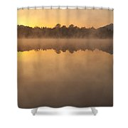Sunrise In Fog Lake Cassidy With Mount Pilchuck And Reflections  Shower Curtain