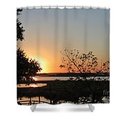 Sunrise Is Calling On Nc Waterway  Shower Curtain