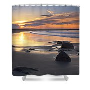 Sunrise On A Beach Near The Port Shower Curtain
