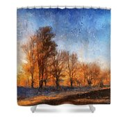 Sunrise On A Rural Country Road Photo Art 02 Shower Curtain