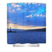 Sunrise On Cayuga Lake Ithaca New York Panoramic Photography Shower Curtain by Paul Ge