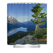 1m3608-sunrise On Peyto Lake Shower Curtain