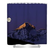 Sunrise On Piz Julier Switzerland With Moon Shower Curtain