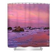 Sunrise On Sea Stacks Harris Sb Oregon Shower Curtain