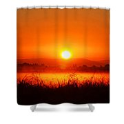 Sunrise On The Rice Fields Shower Curtain