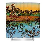 Sunrise On Willows Shower Curtain by Carolyn Doe