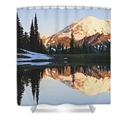 Sunrise Over A Small Reflecting Pond Shower Curtain