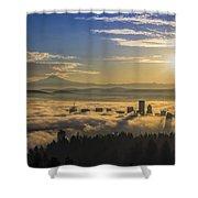 Sunrise Over Foggy Portland Shower Curtain
