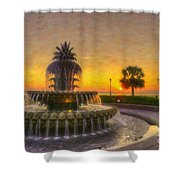 Sunrise Over Pinapple Fountain Shower Curtain