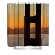 Sunrise Over San Francisco Bay Through Golden Gate Bridge Shower Curtain