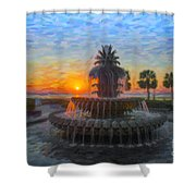 Sunrise Over The Pineapple Shower Curtain