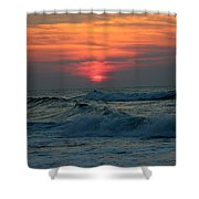Sunrise Over Waves Shower Curtain