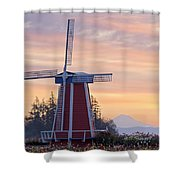 Sunrise Over Wooden Shoe Tulip Farm And Shower Curtain