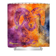 Sunrise Ram Water Color Shower Curtain