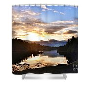 Sunrise River Mirror Shower Curtain