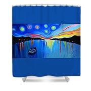 Sunrise At The Lake - Van Gogh Style Shower Curtain