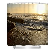 Sunrise Waves On The Rocks By Kaye Menner Shower Curtain