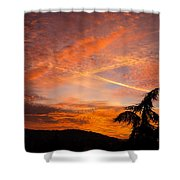 Sunrise With Orange And Red Clouds In The Sky Shower Curtain