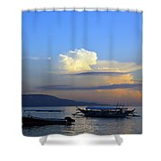 Sunrise With Outrigger Boats Shower Curtain