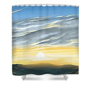 Sunset Above The Hill Shower Curtain