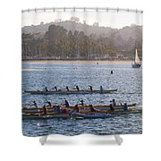 Sunset Activity At The Harbor Shower Curtain