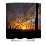 Sunset Along The Fence Yellow Red Orange Fine Art Photography Print  Shower Curtain