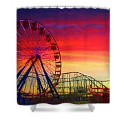 Sunset And A Sliver Moon Shower Curtain