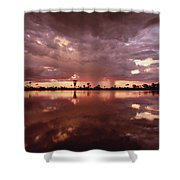 Sunset And Clouds Over Waterhole Shower Curtain