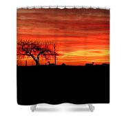Sunset And Deer Silhouette Shower Curtain