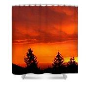 Sunset And Fir Trees Shower Curtain