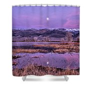 Sunset And Moonrise At Farmers Pond Shower Curtain by Cat Connor