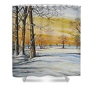 Sunset And Snow Sold Shower Curtain