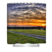 Sunset And The Road Home Shower Curtain by Reid Callaway