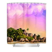 Sunset At Anse Source Argent Seychelles Shower Curtain