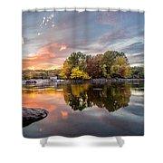 Sunset At Cambridge Reservoir Shower Curtain