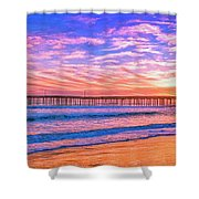 Sunset At Cayucos Pier Shower Curtain