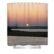Sunset At Chincoteague Channel Shower Curtain