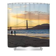 Sunset At Crissy Field With Golden Gate Bridge San Francisco Ca 5 Shower Curtain