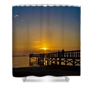 Sunset At Crystal Beach Pier Shower Curtain