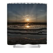 Sunset At Great Fountain Geyser - Yellowstone Shower Curtain
