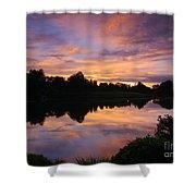 Sunset At Japanese Garden Shower Curtain
