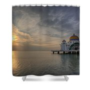 Sunset At Malacca Straits Mosque Shower Curtain