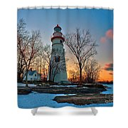 Sunset At Marblehead Lighthouse Shower Curtain