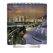 Sunset At Marina Barrage Shower Curtain