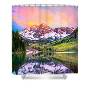 Sunset At Maroon Bells And Maroon Lake Aspen Co Shower Curtain by James O Thompson