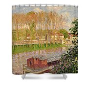 Sunset At Moret Sur Loing Shower Curtain by Camille Pissarro